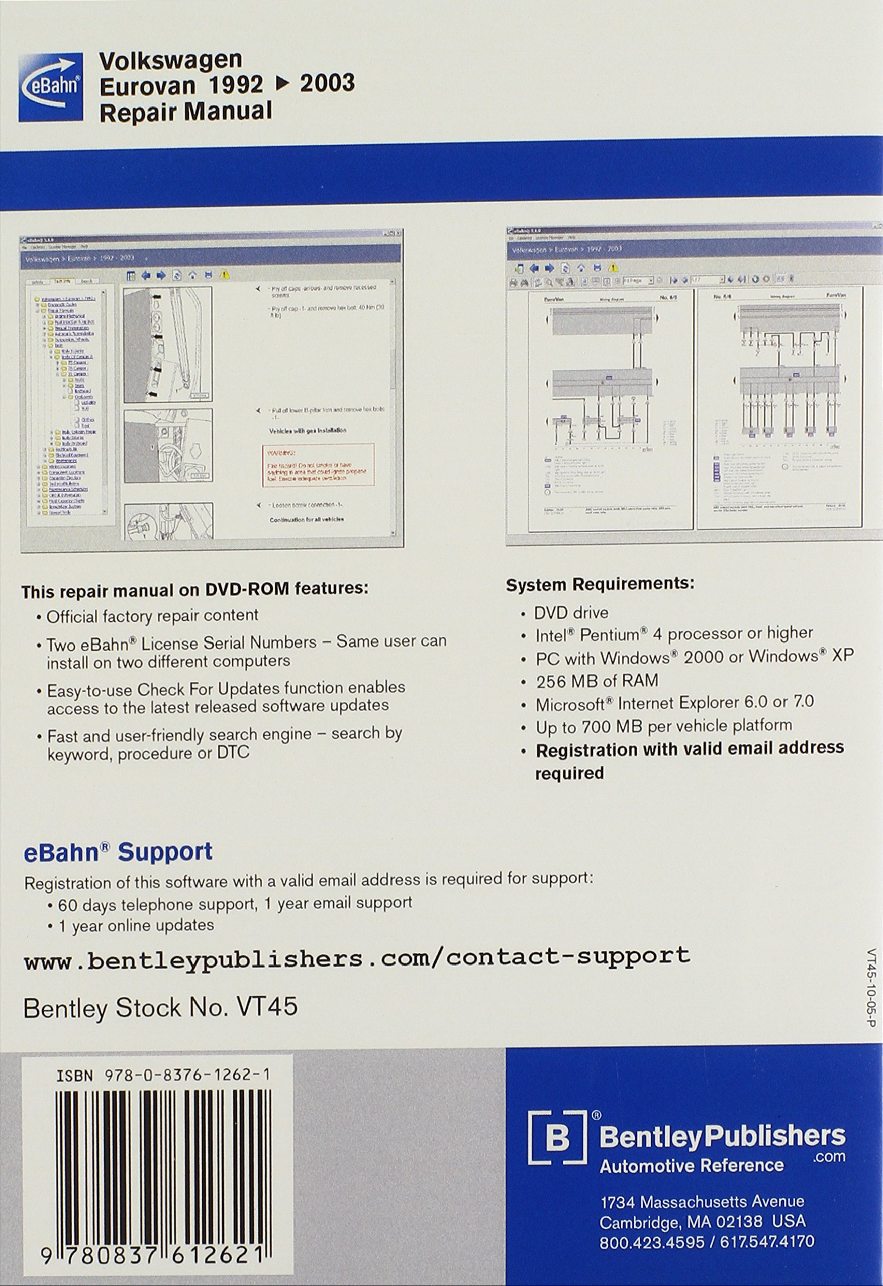 Volkswagen Eurovan 1992, 1993, 1994, 1995 1996, 1997, 1998, 1999 2000,  2001, 2002, 2003: Repair Manual on DVD-ROM: Including Multivan and CV  Camper: ...