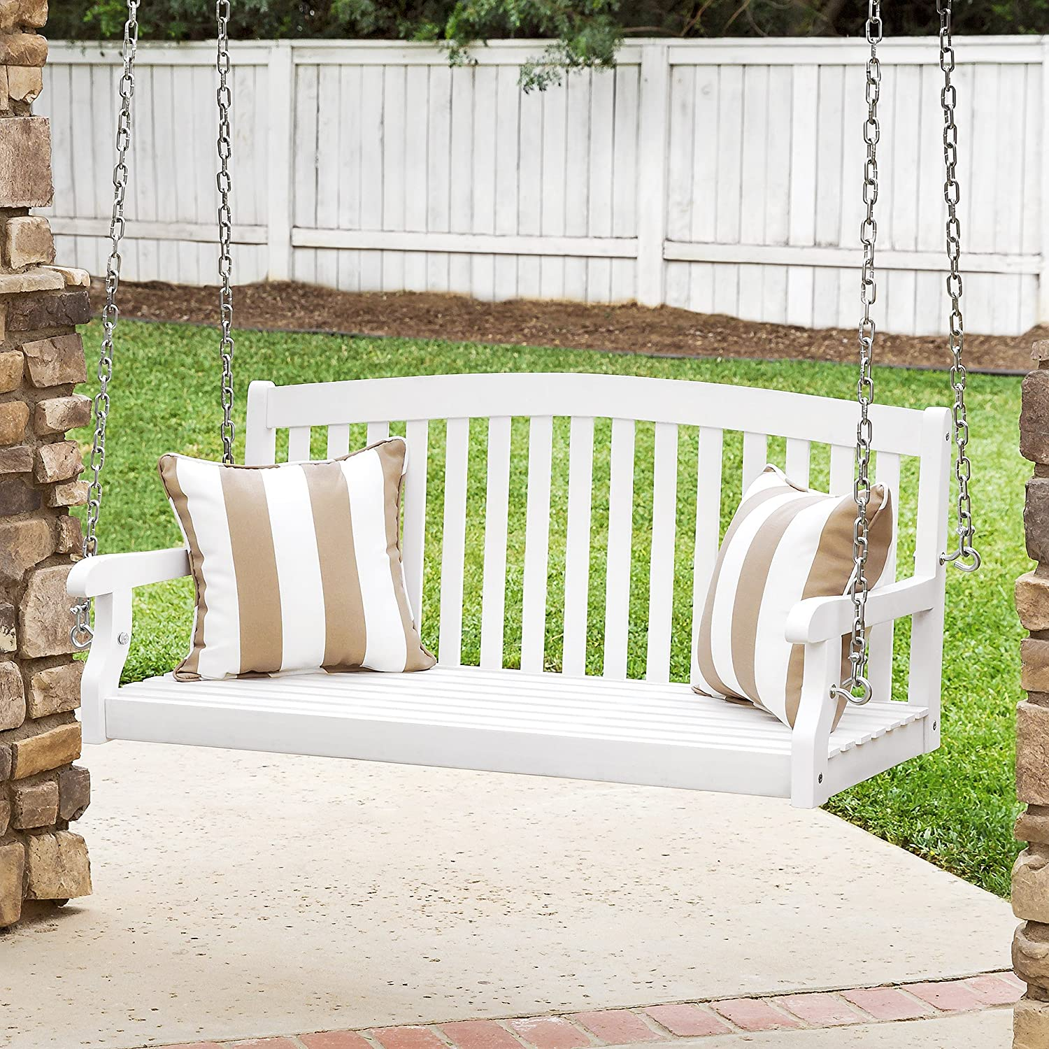 Best Choice Products 48-inch 3-Seater Wooden Curved Back Hanging Porch Swing Bench Conversation Furniture with Metal Chains for Backyard, Front Yard, Patio, Deck, Garden, White