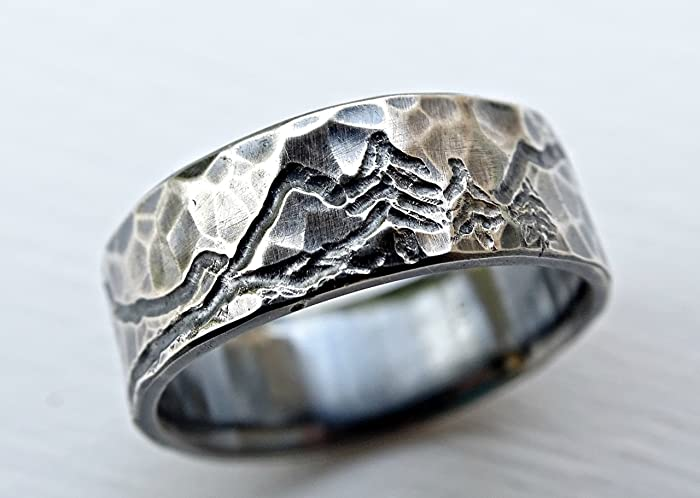 0726781b684d3 rustic mountain range ring, engraved landscape ring for him and her,  outdoor wedding ring silver, man wedding band, customized mountain ring