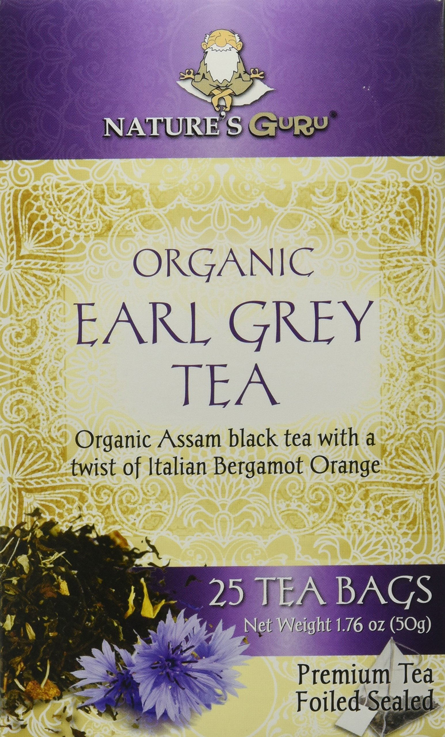 CDM product Nature's Guru Organic Whole Leaf Black Tea Earl Grey 25 Count Individual Tea Bags (Pack of 12) big image