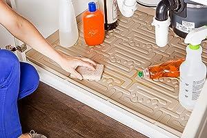 Xtreme Mats Under Sink Kitchen Cabinet Mat, 30 5/8 x 21 7/8, Beige
