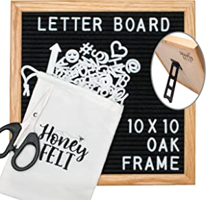 Felt Letter Board 10x10 with Attached Stand, 346 Changeable White Letters, Numbers & Emojis, Canvas Storage Bag, Wall Mount Hanger, Wood Oak Frame, Scissors   Home & Office Gifts, Letterboard (Black)