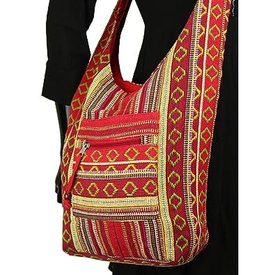 570eb89cc85 Sling shoulder bag boho hippie festival cotton canvas diamond pattern - Red
