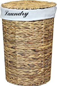 Vintiquewise Natural Water Hyacinth Wicker Round Laundry Hamper with Removable Linen Liner and Lid, 21 Inch