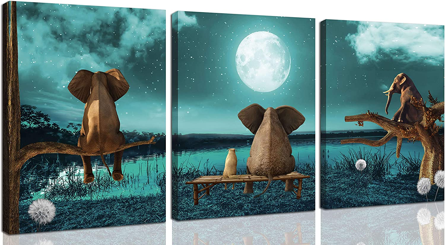 Bathroom Decor Wall-Art - Elephant Wall Art For Bedroom - Animal Canvas Artwork Picture Print Easy To Hang On The Wall Size 12x16 Inches x3Piece