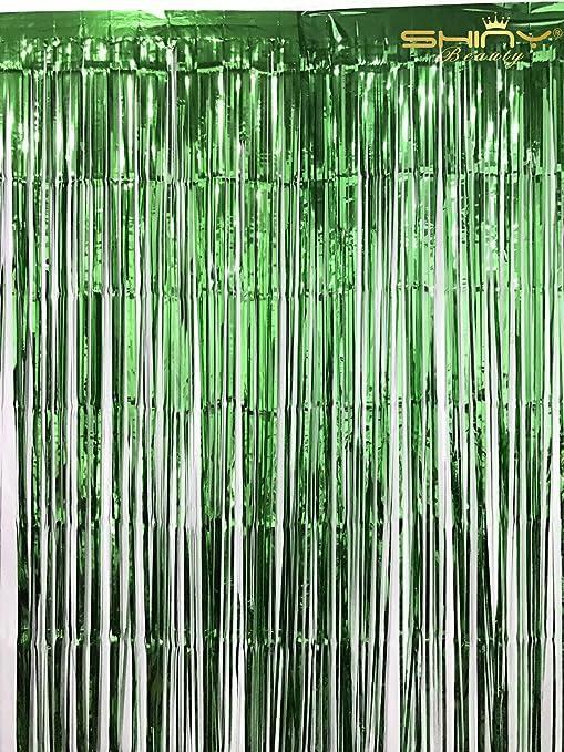 Shinybeauty 3 Ftx8ft Schwarz Lametta Folie Fransen Tür Fenster Vorhang Party Dekoration