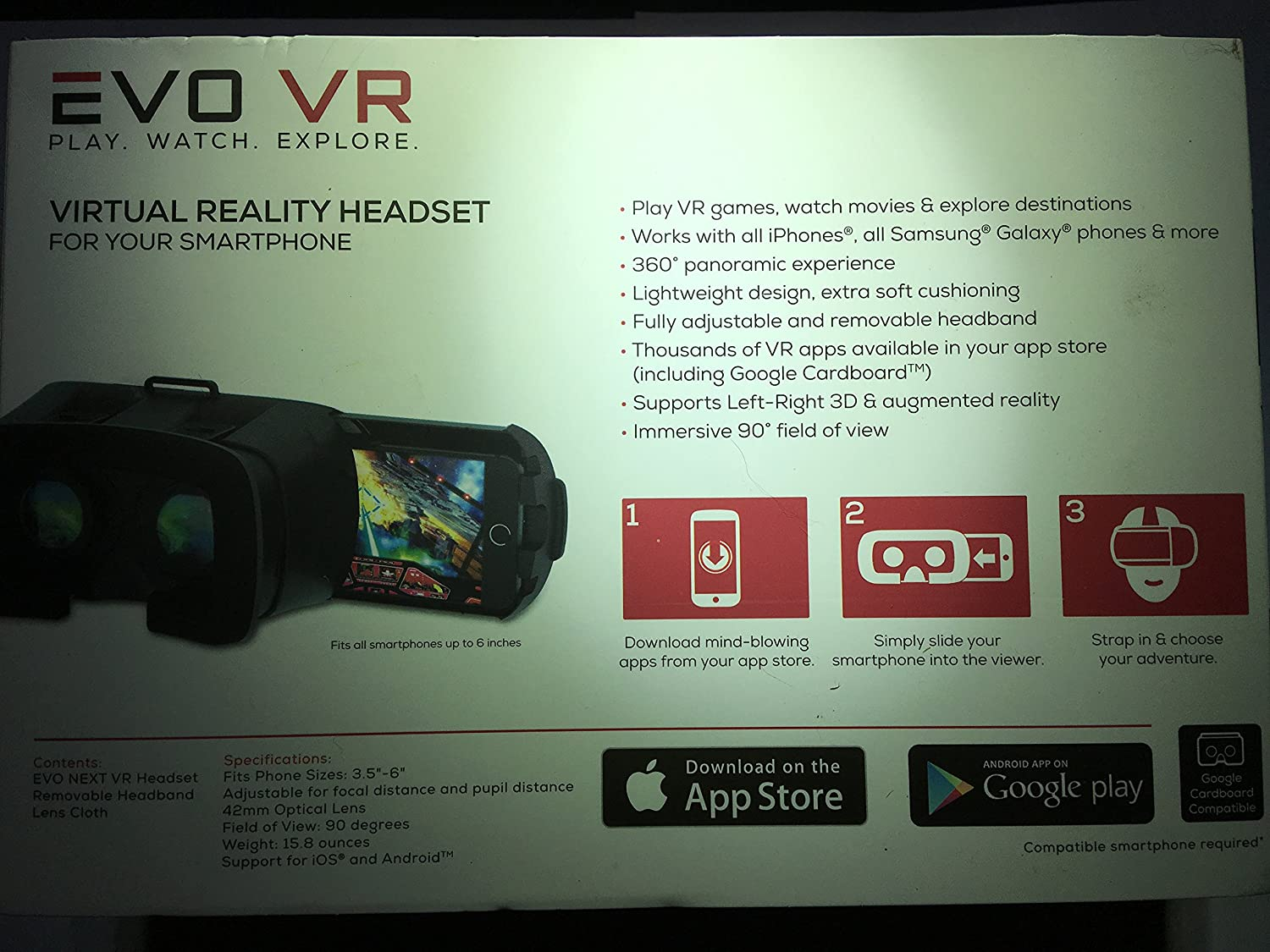 82886b836915 Amazon.com  EVO VR - Virtual Reality Headset for All Smartphones - IOS    Android - Black color  Cell Phones   Accessories