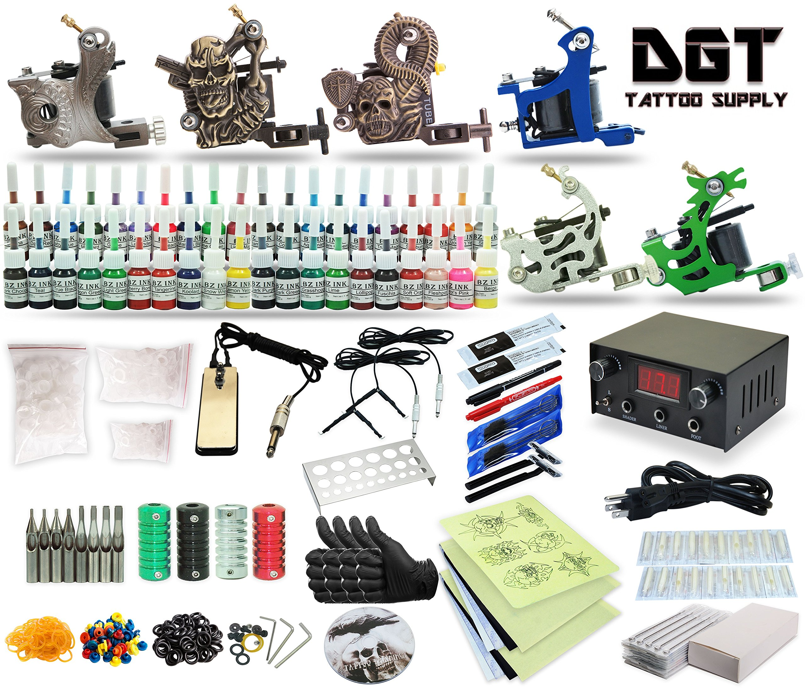 Complete Tattoo Kit 6 Machines Power Supply 40 colors ink set