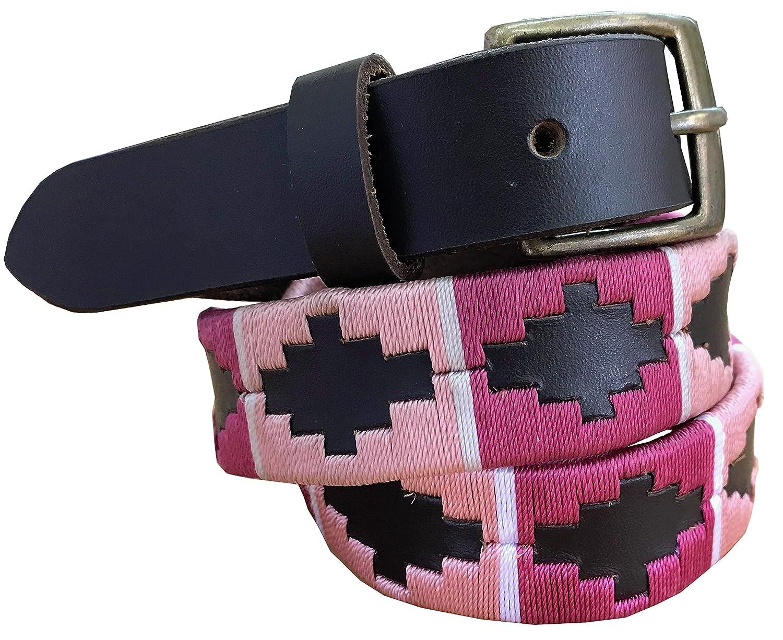 CARLOS DIAZ Jungen Mädchen Kids Kinder Unisex Argentinischen Braun Leder Bestickte Polo Gürtel