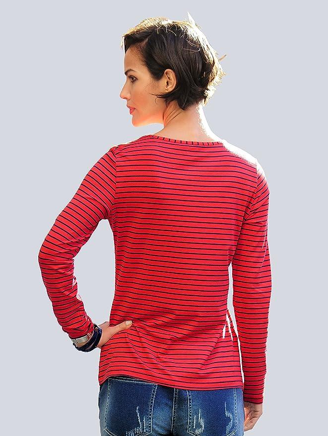 Damen Ringelshirt mit Anker-Motiv by Alba Moda White: Amazon.de: Bekleidung