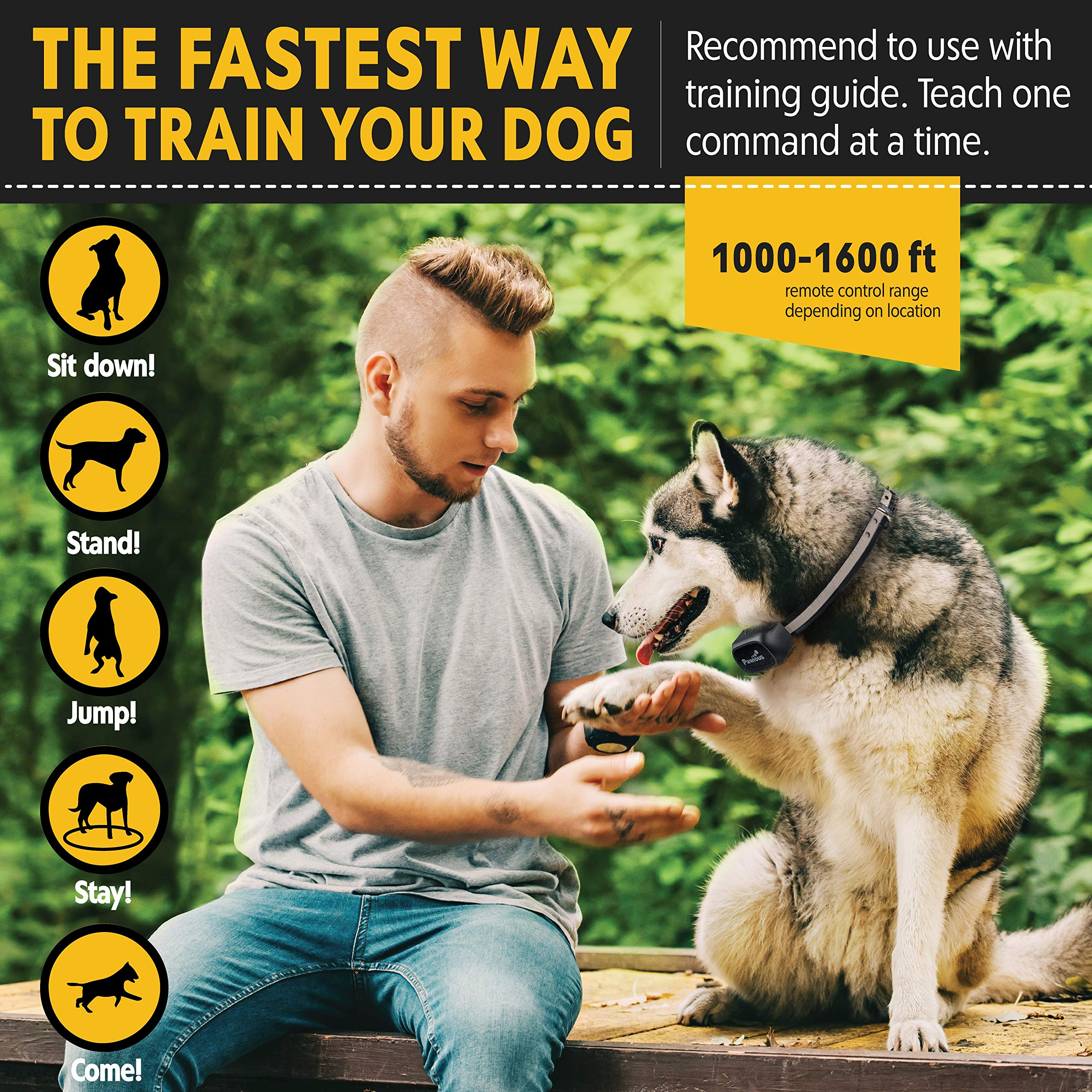 Pawious Dog Training Collar [Newest 2019] - Rechargeable Remote Dog Shock Collar Small Medium Large Dogs - Long Range, Waterproof, Large LED Screen, Beep, Vibration, Shock E-Collar by Pawious (Image #4)