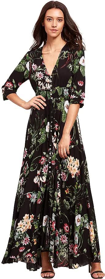 Milumia Women's Button Up Split Floral Print Flowy Party Maxi Dress Green