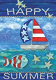 """LANG - Large Garden Flag -""""Happy Summer  """", Exclusive Artwork by Wendy Bentley - All-Weather, Fade-Resistant Polyester  - 28"""" w x 40"""" h"""