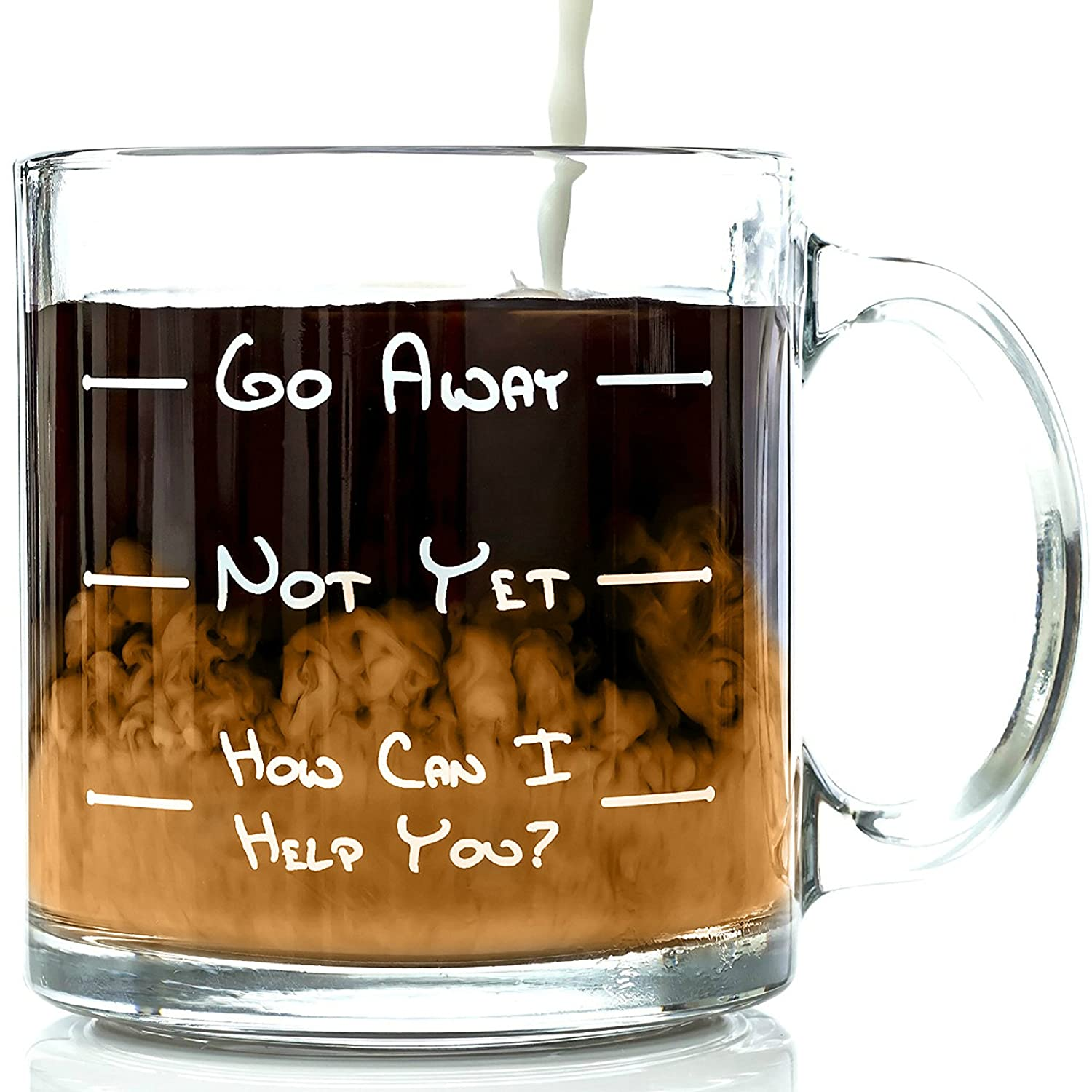 Go Away Funny Glass Coffee Mug 13 oz - Unique Father's Day Gift For Men & Women, Him or Her - Best Office Cup & Birthday Present Idea For Mom, Dad, Husband, Wife, Boyfriend, Girlfriend or Coworkers