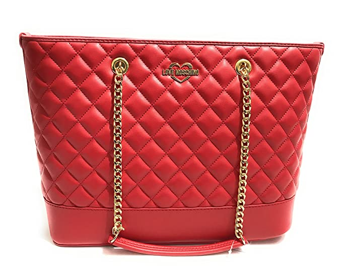 BORSA DONNA LOVE Moschino Shopping Bag Quilted Nappa Rosso