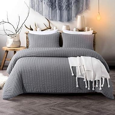 Cozyholy Seersucker Duvet Cover Set 3-Piece Nature Style Water-Washed Microfiber Bedding Set with Zipper and Corner Ties (Dark Grey, Queen)
