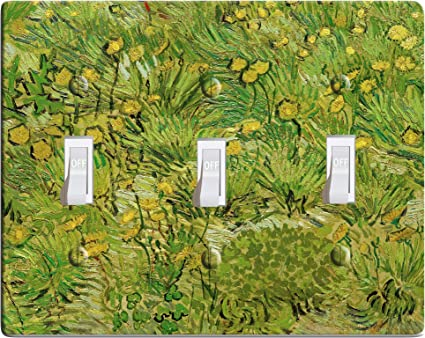 Embossi Printed Maxi Metal Vincent Van Gogh A Field With Dandelions Switch Plate Light Switch Outlet Cover L0155 3 Gang Toggle