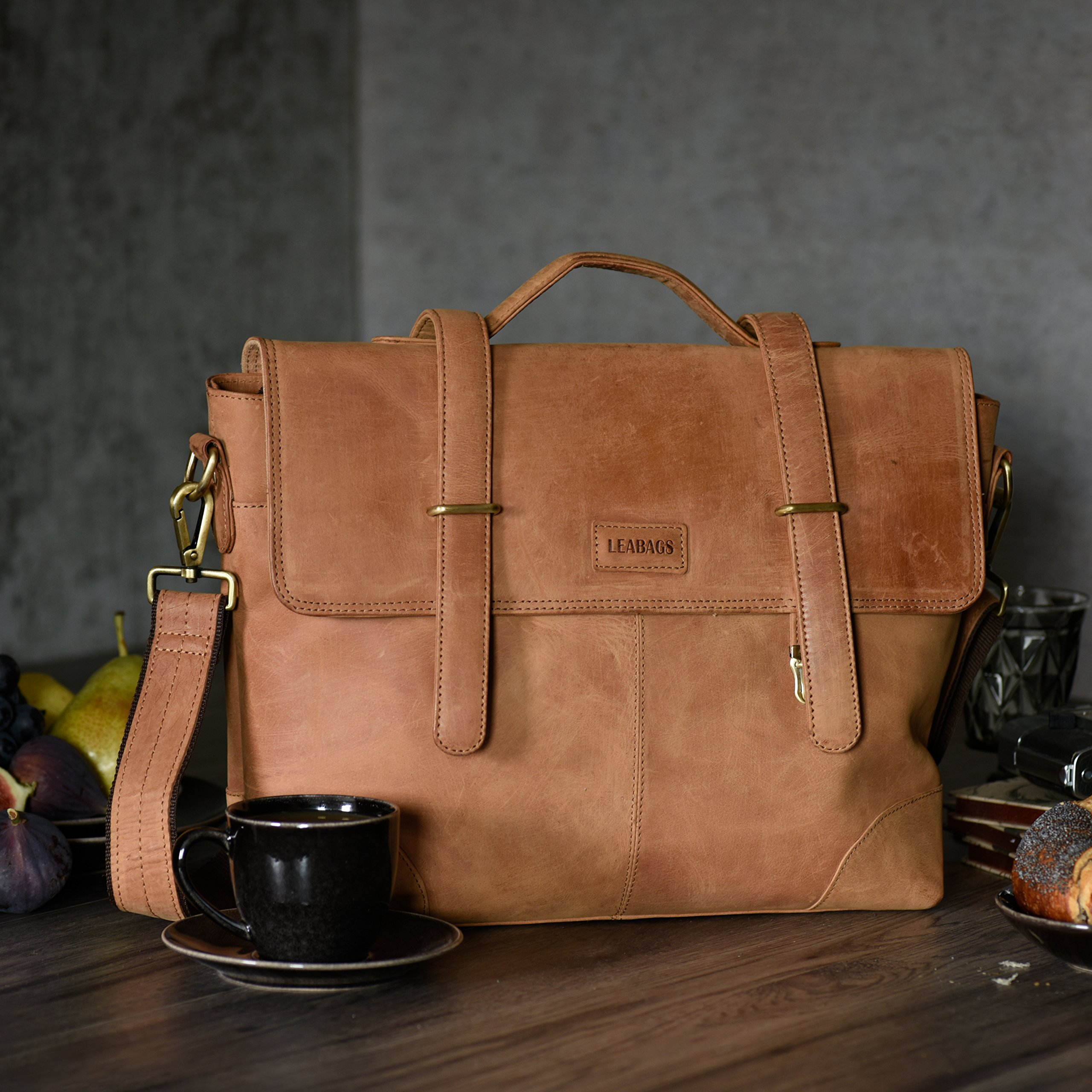LEABAGS Liverpool genuine buffalo leather briefcase in vintage style - Brown by LEABAGS (Image #7)