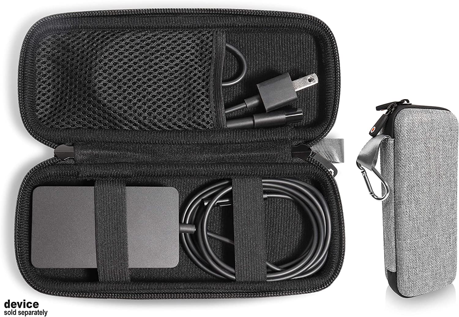 GETGEAR Laptop Charger case, Customized for Microsoft Surface, pro 2, with mesh Pocket for Microsoft Surface Arc Mouse, Flash Drive or Other Essential Accessories (Tweed Gray)