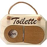 """Plaque de porte en bois d'érable massif avec mot """"Toilette"""" (en allemand """"WC"""") avec panneau WC Lid-shaped pour révéler soit """"frei"""" (""""Vacant"""") ou """"Besetzt"""" (""""Occupés"""")"""