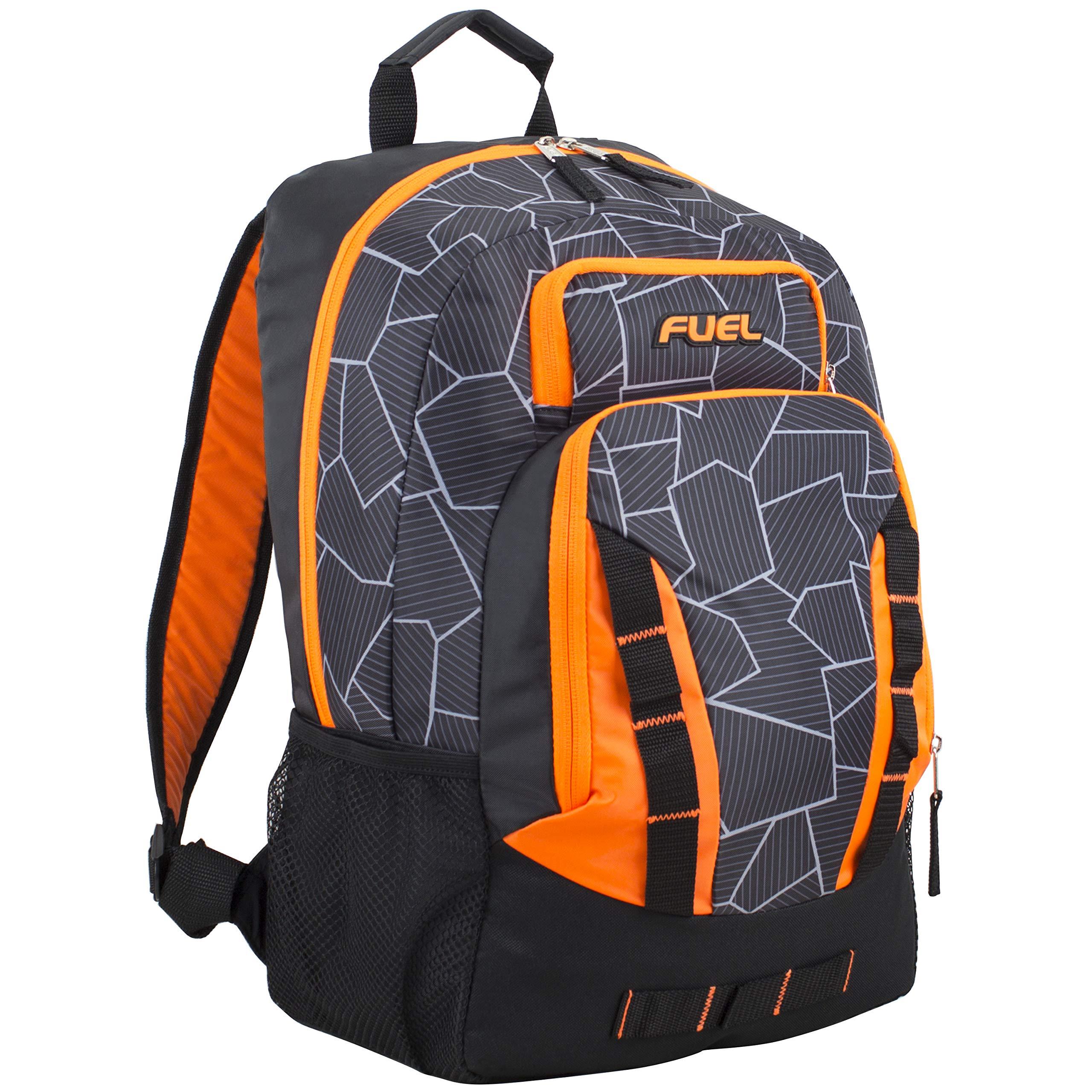 Fuel Escape Travel Backpack, School Bookbag, Durable Camping or Hiking Backpack, Black/Orange/Gray Geometric Cracks Print by Fuel