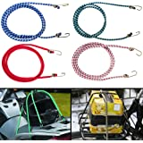 Autofy Multipurpose Ultra Strong & Flexible Bungee Rope/Luggage Strap/Bungee Cord with 12 MM Diameter and Metal Hooks (Multicolored, Set of 4)