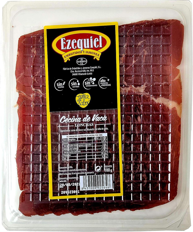 Embutidos Ezequiel Cecina de De León Igp Loncheada, Cecina de Vaca 100% Natural Ahumada con Leña de Roble, Suave, Intenso, 100 Gramos