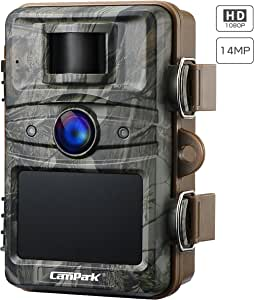 Campark Trail Camera 2.4'' LCD 14MP 1080P Game&Hunting Camera with HD Night Vision Triggering Distance up to 20M/65FT Contains 44 Pcs Invisible IR LEDs Wildlife Camera with IP66 Spray Water Protected
