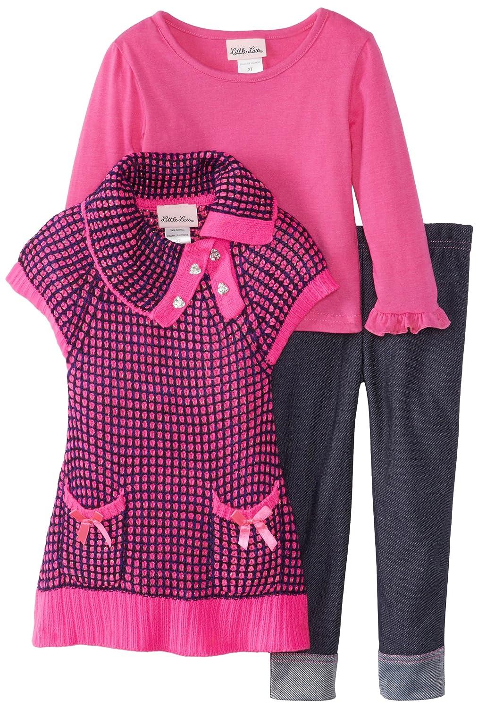 Little Lass Little Girls Three-Piece Envelope-Collar Rib-Knit Sweater Set