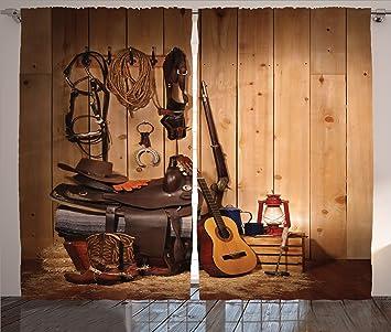 GroBartig Western Einrichtung Vorhänge Durch Ambesonne, American TEXAS Style Country  Musik Gitarre Cowboy Stiefel USA Folk