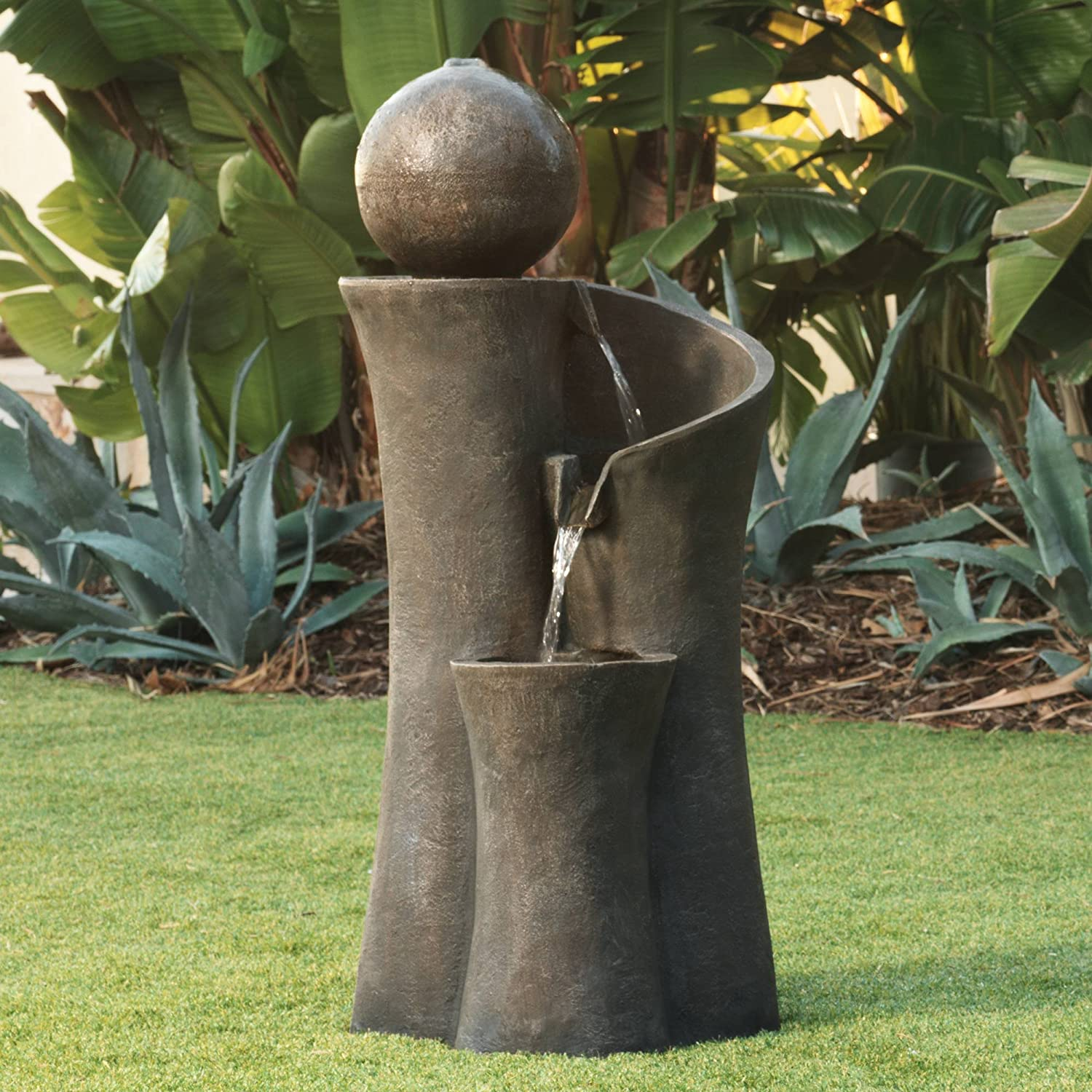Zen Outdoor Water Fountain with Light - Choice of Styles