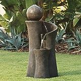"John Timberland Modern Sphere Zen Outdoor Floor Water Fountain 39 1/2"" with LED Light for Exterior Garden Yard Lawn"