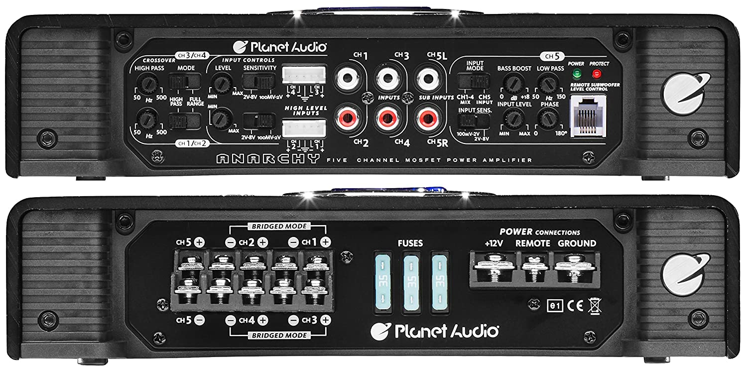 Planet Audio Ac18005 Anarchy 1800 Watt 5 Channel 2 4 Rockford Fosgate R600x5 600w Amplifier With Wiring Kit Ohm Stable Class A B Full Range Bridgeable Mosfet Car Remote Subwoofer