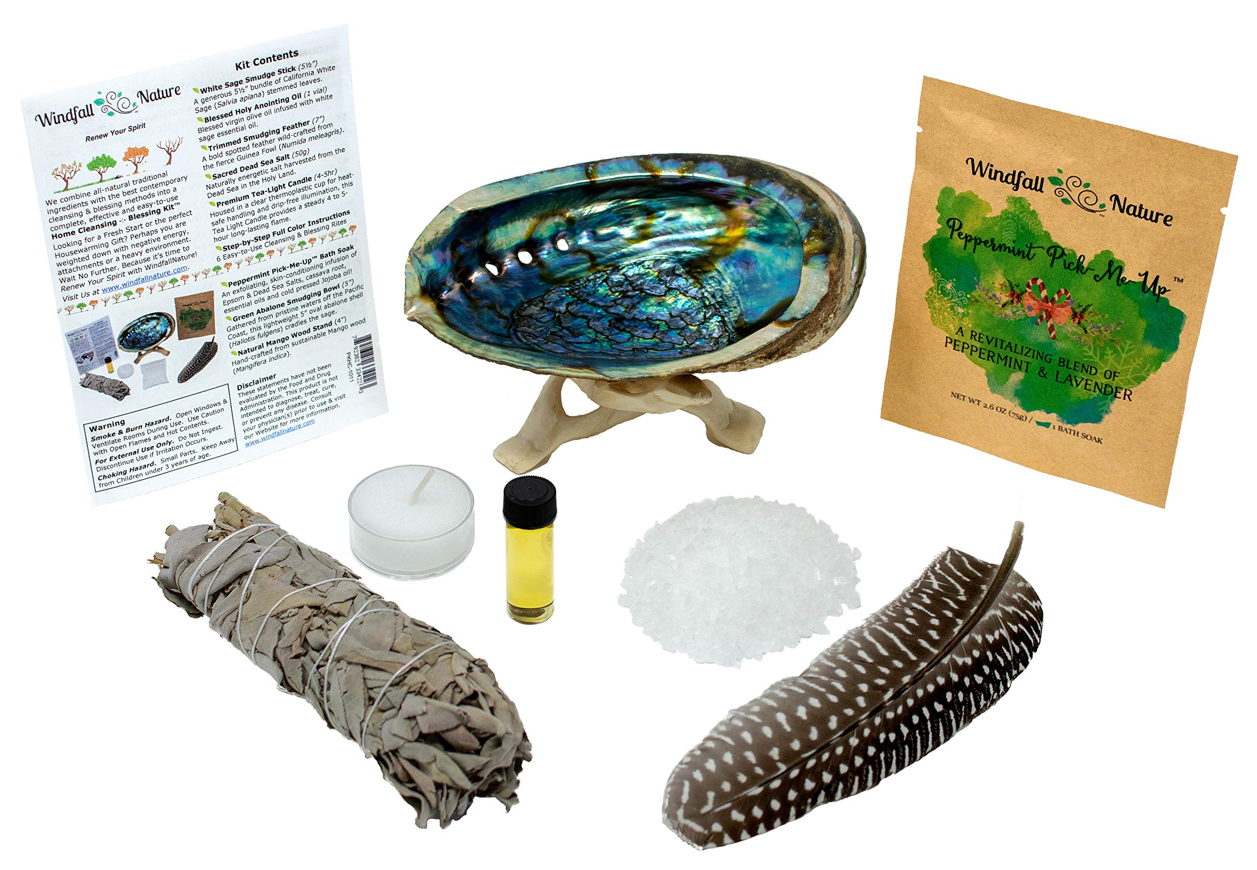 Home Cleansing and Blessing Kit with Abalone Smudging Bowl and Wooden Stand -:- California White Sage Smudge Stick + Smudging Feather + Blessed Anointing Oil + Tea Light Candle + Coarse Grain Sea Salt by WindfallNature