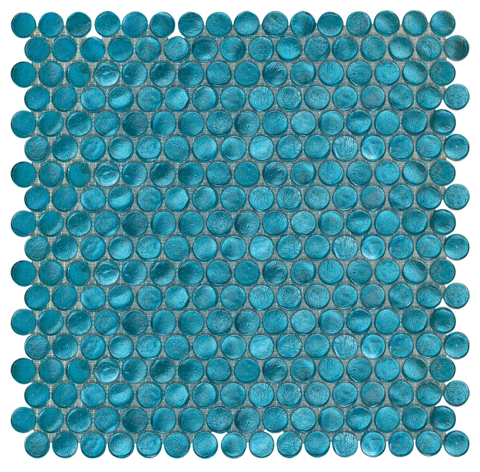 Aruba Turquoise Shimmer Penny Round Glass Mosaic by Squarefeet Depot