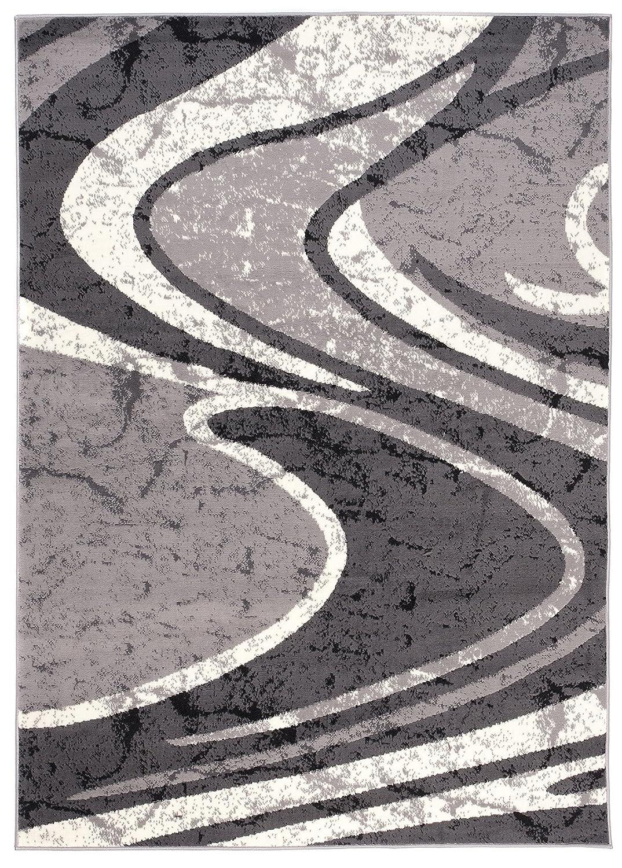 Tapiso Dream Teppich Kurzflor Modern Teppiche in Grau Creme mit Wellen Streifen Muster Designer Wohnzimmer Schlafzimmer ÖKOTEX 160 x 220 cm
