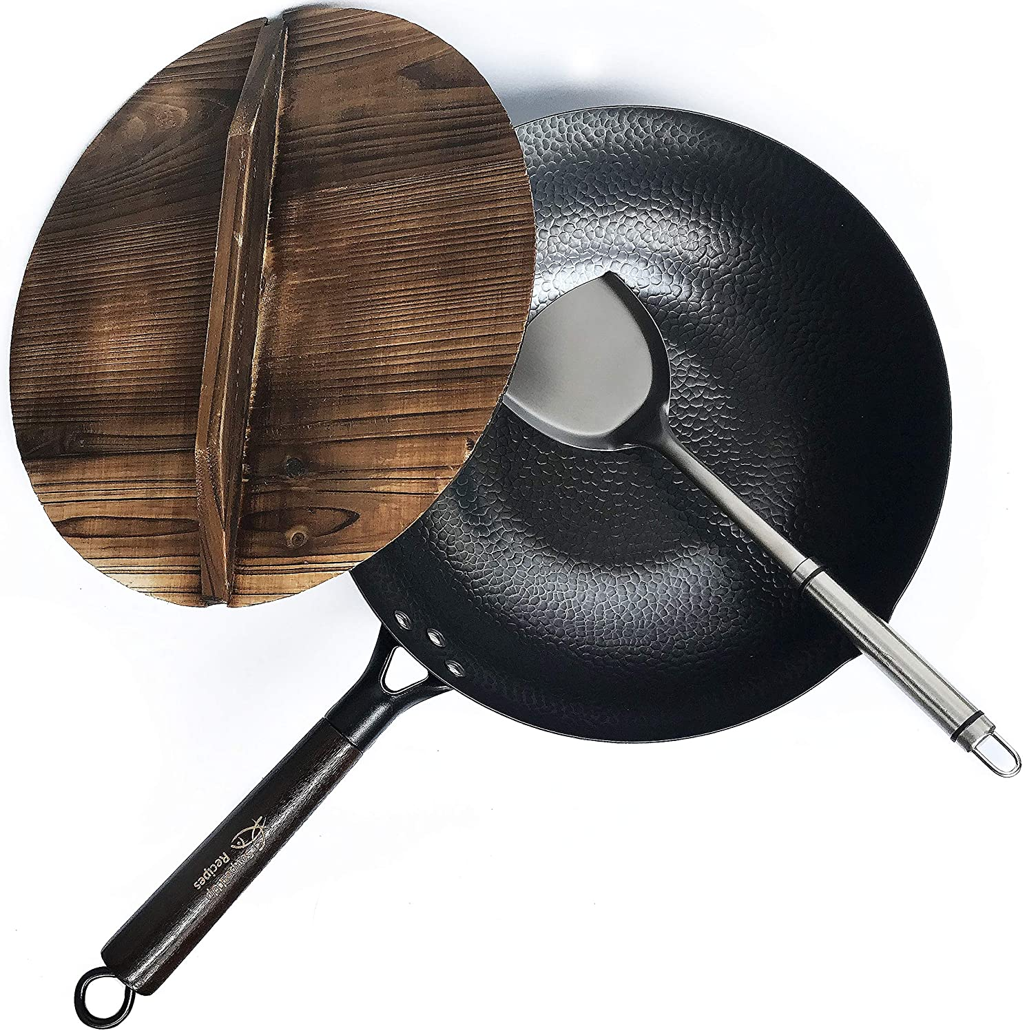 Souped Up Recipes - Flat Bottom Wok For Electric, Induction and Gas Stoves (Lid, Spatula and Seasoning Video Guide Included)