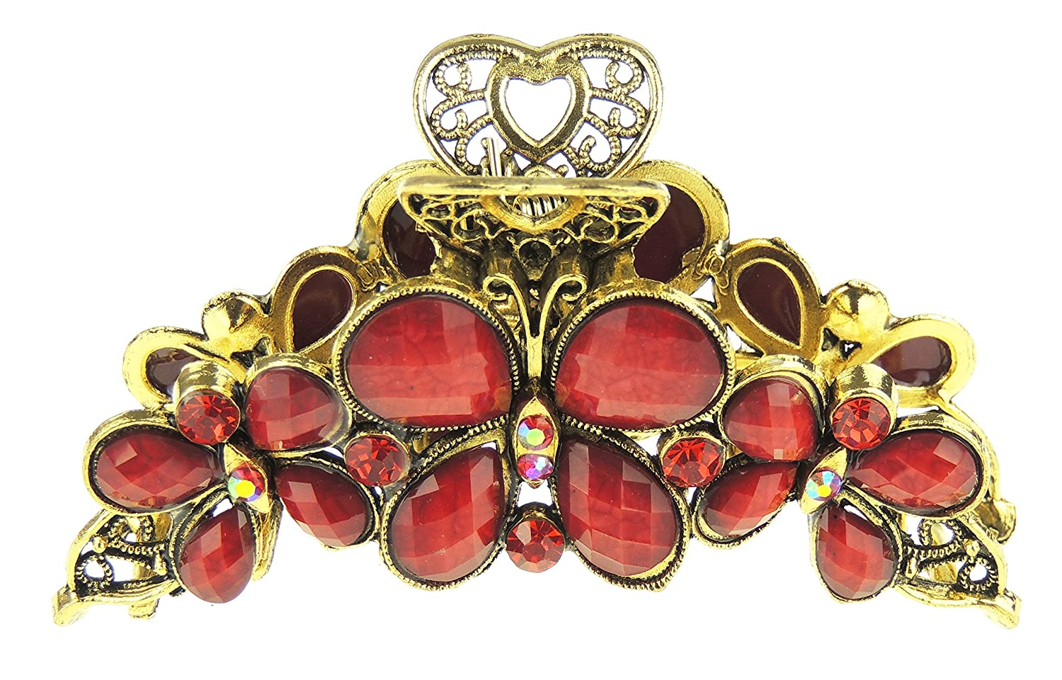 Ladies Bronzed Gold Tone Metal Diamante Crystal Medium 9cm Hair Claw Clamp Three Butterflies Pink Glamour Girlz