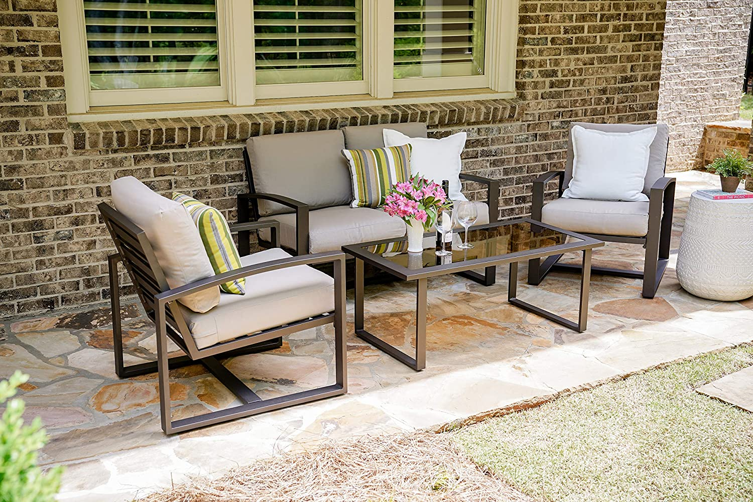 Leisure Made Jasper 4 Piece Outdoor Seating, Tan Fabric