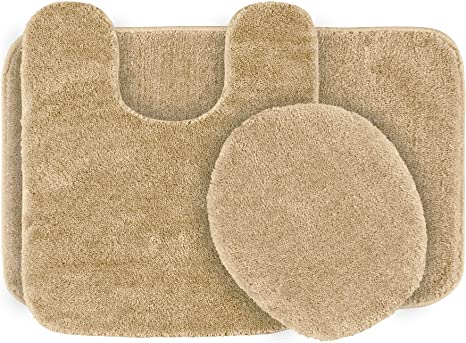 Amazon Com Garland Rug 3 Piece Traditional Nylon Washable Bathroom Rug Set Beige Home Kitchen