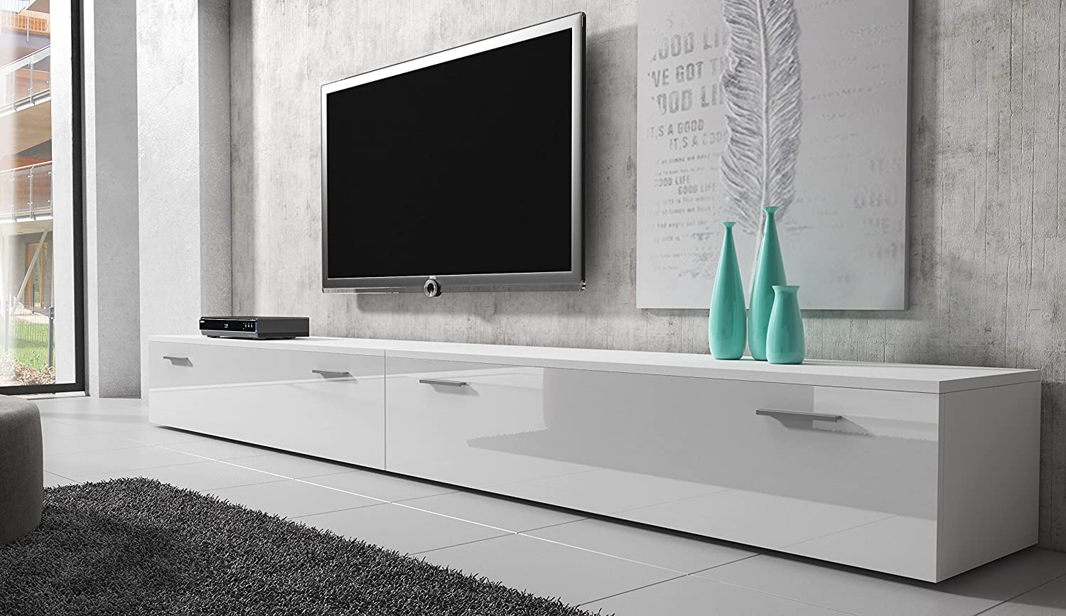 Tv Unit Cabinet Stand Boston Body Matte White Front White High  # Meuble Tv Groupon