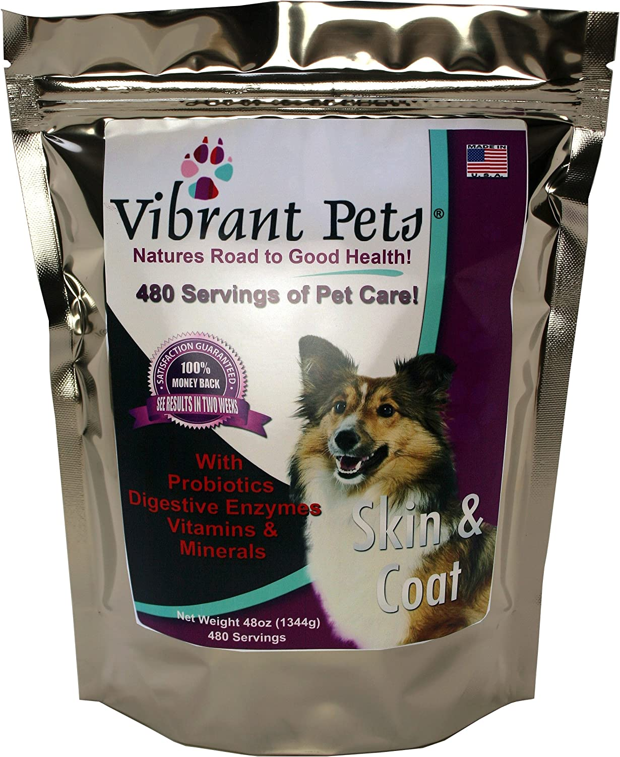 Vibrant Pets Skin and Coat Diet Supplements Original Premium Dog Coat Supplement and Dog Skin Supplement Powder with Probiotics Natural Ingredients 480 Servings 48oz