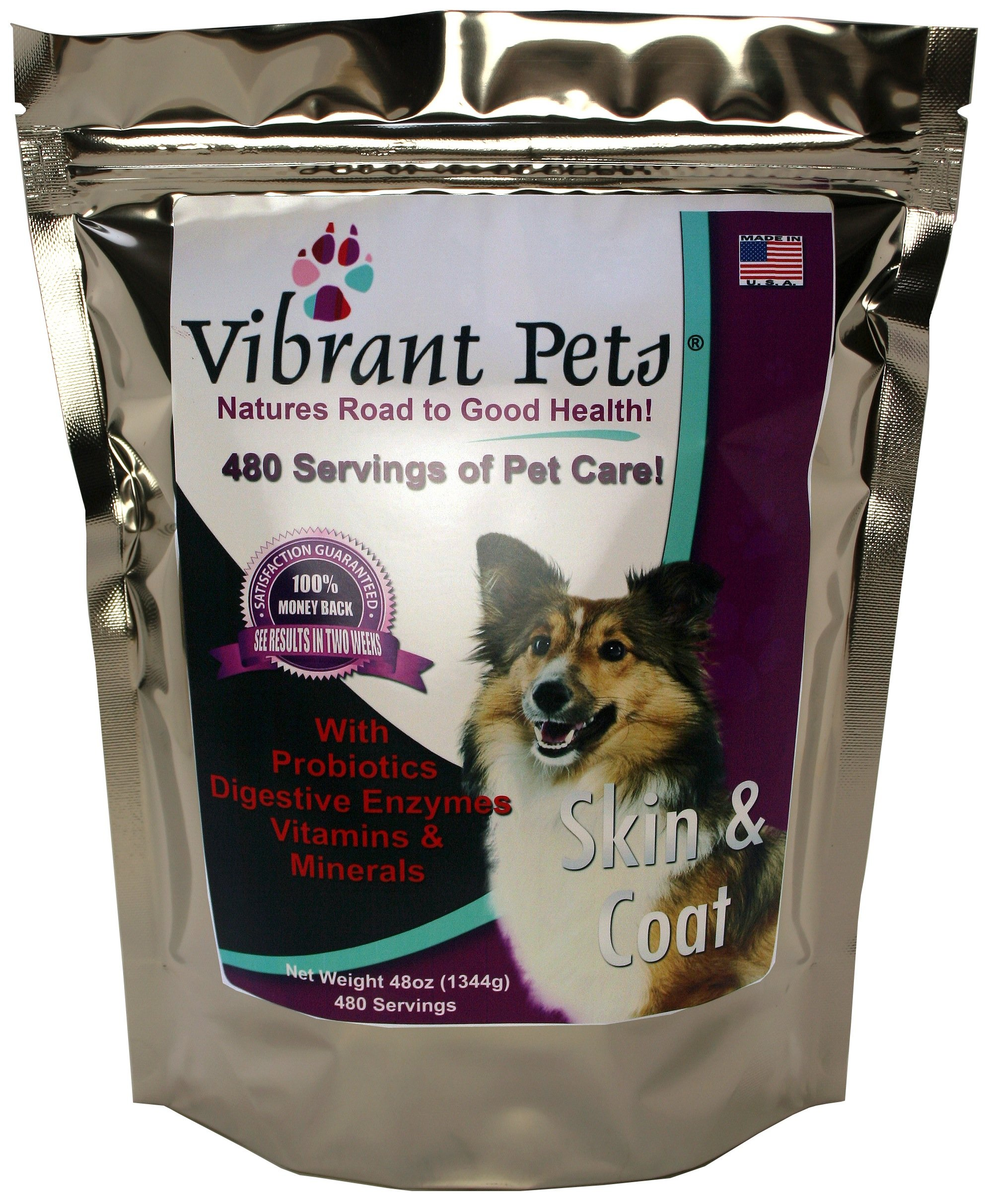 Vibrant Pets Skin and Coat Diet Supplements | Original Premium Dog Coat Supplement and Dog Skin Supplement Powder with Probiotics| Natural Ingredients 480 Servings 48oz by Vibrant Pets