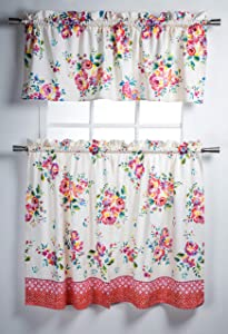 Maison d' Hermine Rose Garden 100% Cotton Set of 3 Kitchen Window Curtain for Cafe | Kitchen | Bedroom | Home [2 Tiers (28