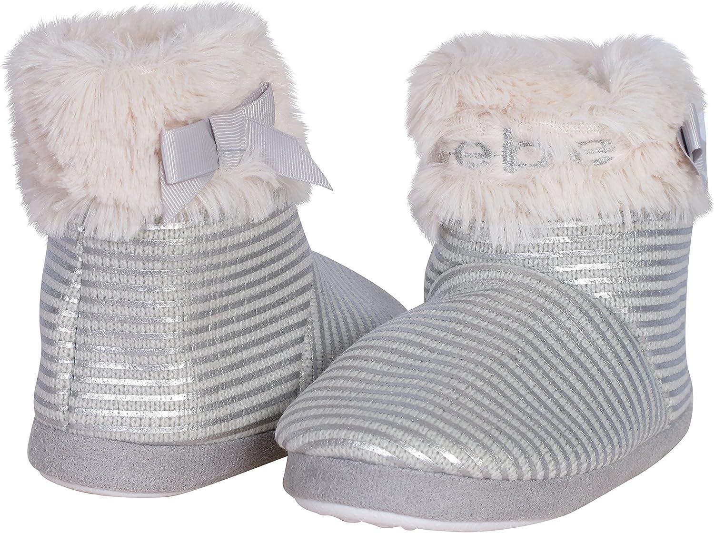 bebe Girls Faux Fur Metallic Slipper Boots Toddler, Little Kid