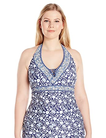 5584b057c2026 Jessica Simpson Women's Plus-Size Patched Up Ditsy Floral Cross Back Halter  Tankini at Amazon Women's Clothing store: