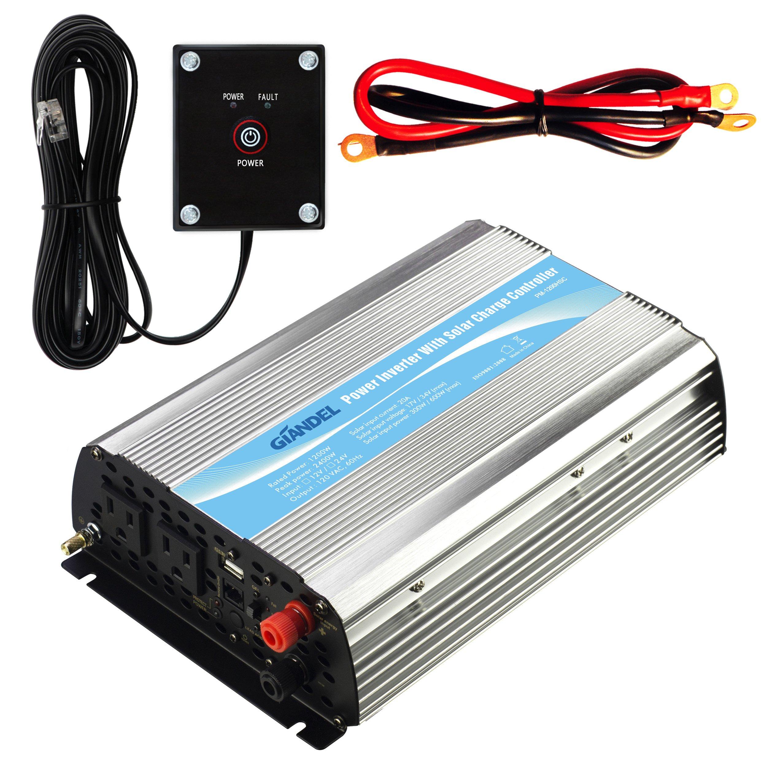 GIANDEL Power Inverter 12V DC To 110V 120V AC With 20A Solar Charge Controller Remote Control Dual AC
