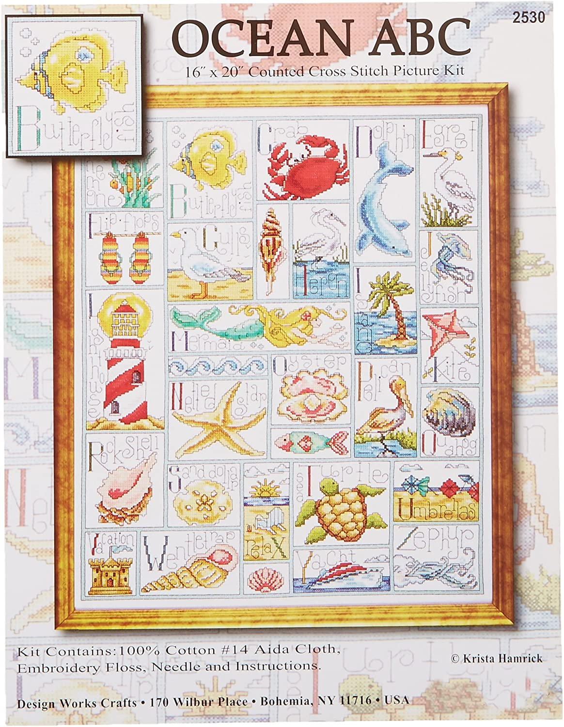 Tobin 14 Count Ocean ABC Counted Cross Stitch Kit, 16 by 20-Inch