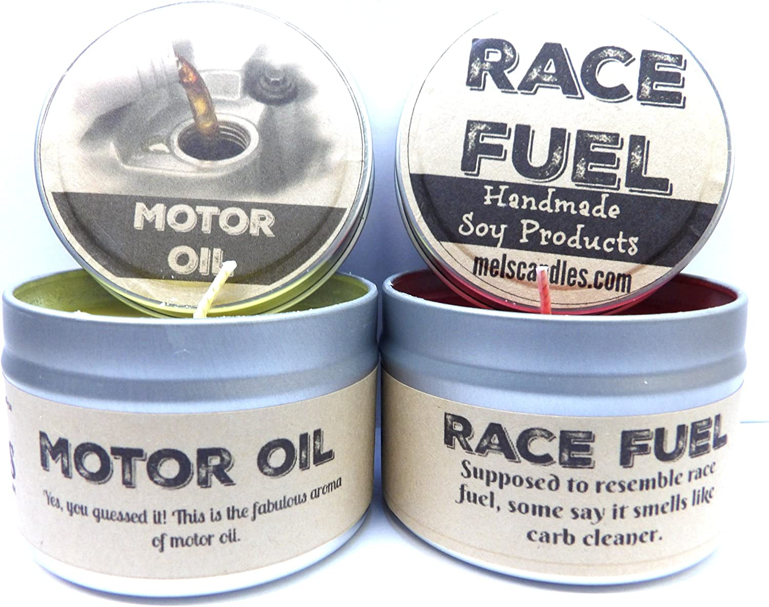 Combo - 4oz Motor Oil & 4oz Race Fuel Soy Candle Tins - Great Gift for Men & Race Fans