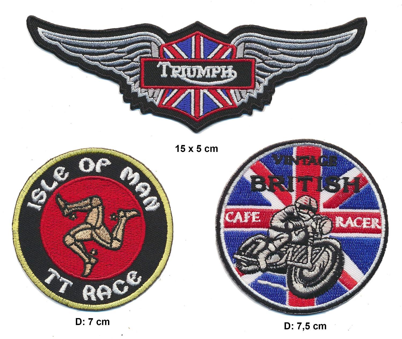 Cafe Racer Isle of Man Triumph Toppa termoadesiva 3 Pezzi Moto Inghilterra A5 Royal Garment